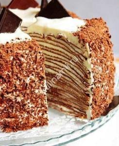 Блинный шоколадный торт с творогом рецепт