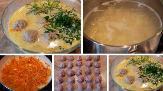 Сливочный суп с фрикадельками фото