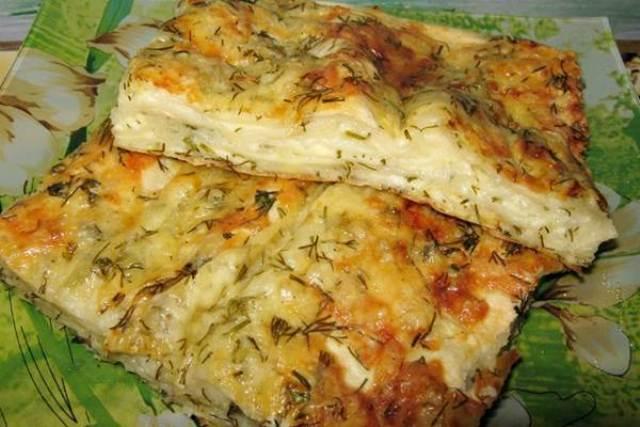 Пирог из лаваша с курицей и сыром