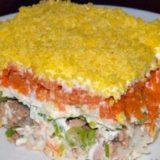 Вкусный слоёный салат Мимоза