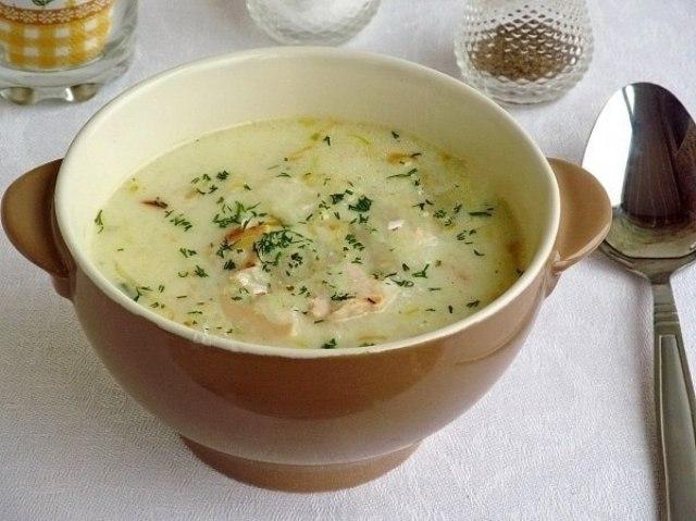 Английский куриный суп с плавленым сыром.
