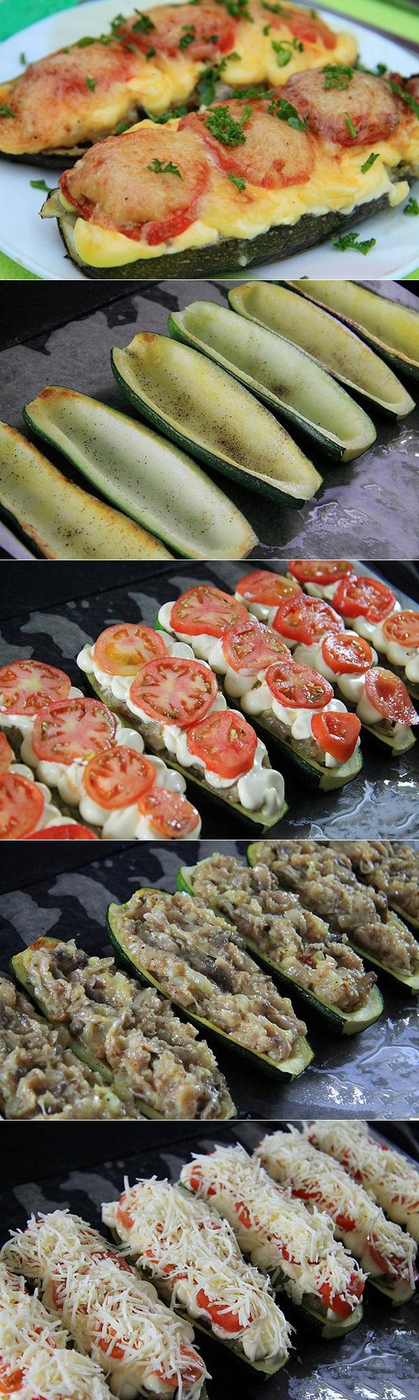 Лодочки из кабачков с фаршем и грибами в духовке