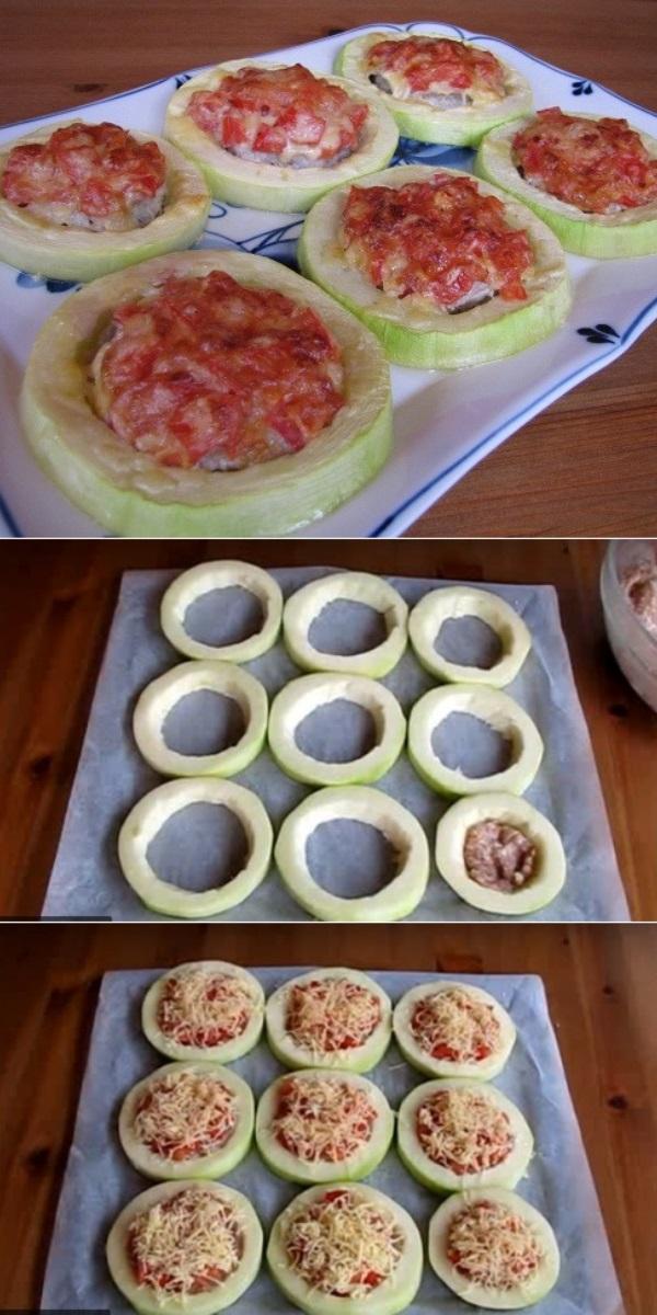 Кабачки с овощами и мясом