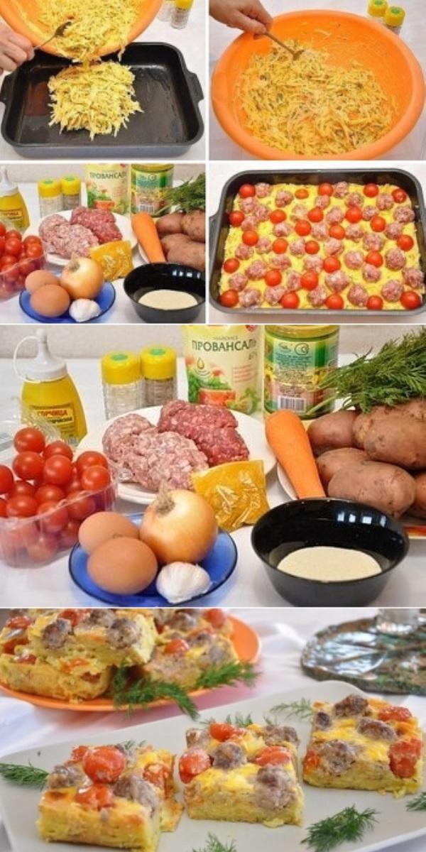 Картофельная запеканка с мясными шариками