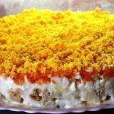 Салат из горбуши с морковью и грибами