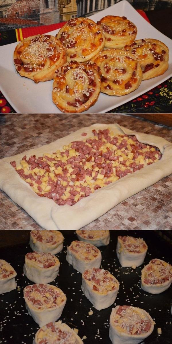 Слойки с колбасой и сыром - самое удачное сочетание! Вкуснее мяса!
