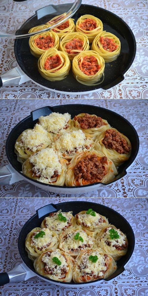 Гнезда с мясным фаршем и овощами: любимое блюдо с очень оригинальной подачей. Немного креативности — и вуаля!