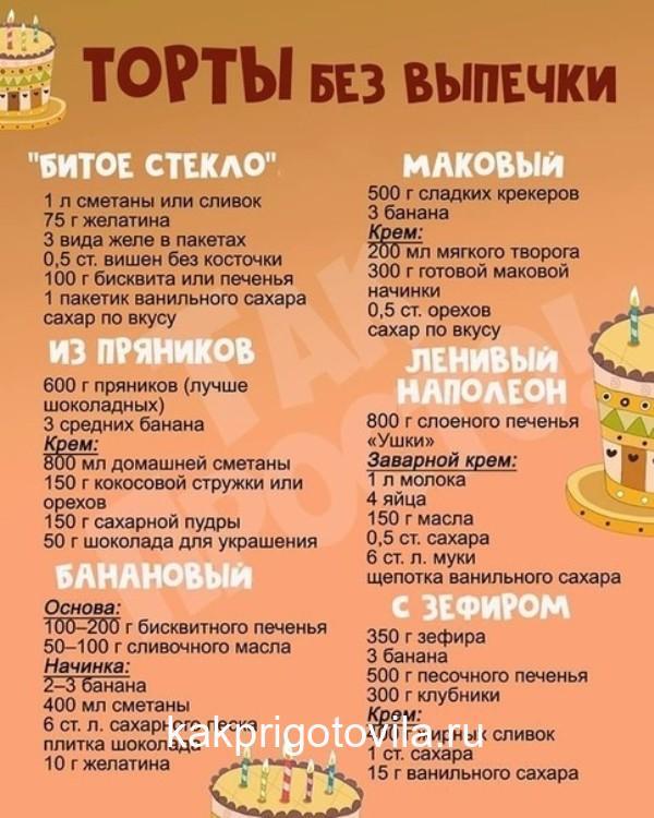 Бесподобные вкусные торты БЕЗ выпечки, просто тают во рту!