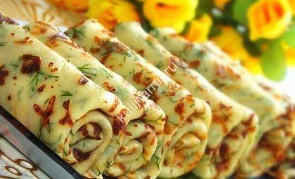 Сырные блины с зеленью рецепт