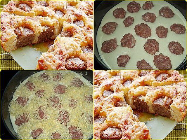 Пирог с фрикадельками фото