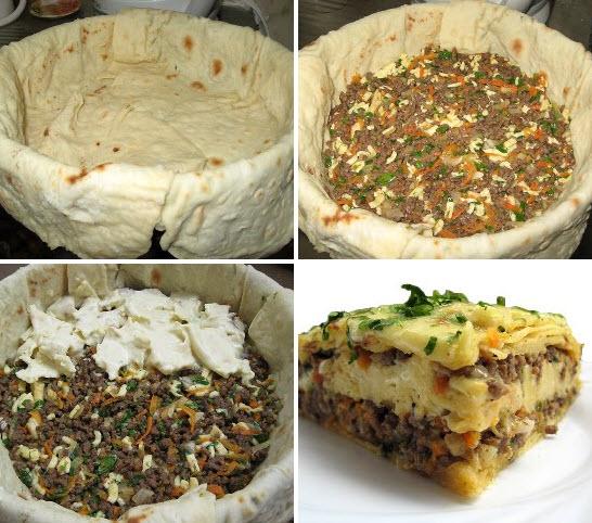 Мясной пирог из тонкого лаваша
