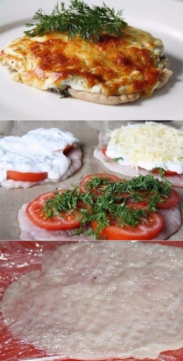 Отбивные из куриного филе в духовке с помидорами