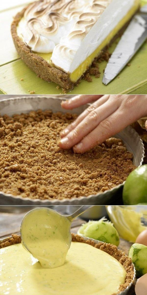 Торт - безе с лаймовым кремом