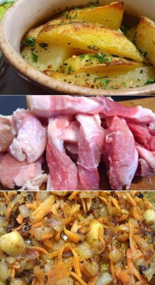 Картошка, тушенная с мясом в горшочке, «сметается» в миг. Закуска на все случаи!