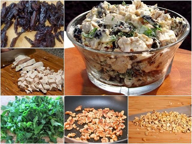 Красивый, необычный и очень вкусный салат с черносливом и курицей «Отелло».