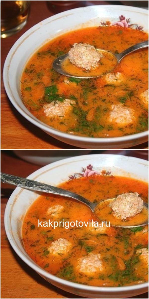 Рассольник с куриными фрикадельками и рисом