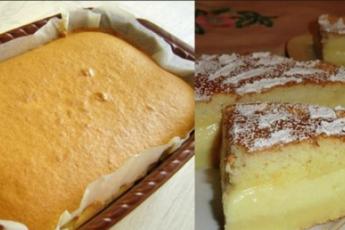 Самое умное и вкусное пирожное!Вся прелесть в том, что после смешивания всех ингредиентов получается жиденькое тесто,когда вы поставите его в духовку,то оно применит «умный» способ и самостоятельно расслоится