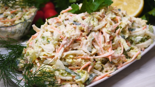 Рецепт прекрасного салата с капустой и печенью трески 1