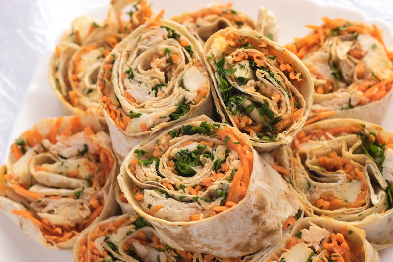 rolls-with-carrots-meat-chicken-and-greens