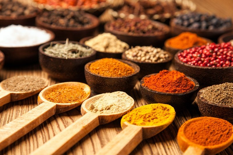 spices-and-herbs-in-wooden-bowls