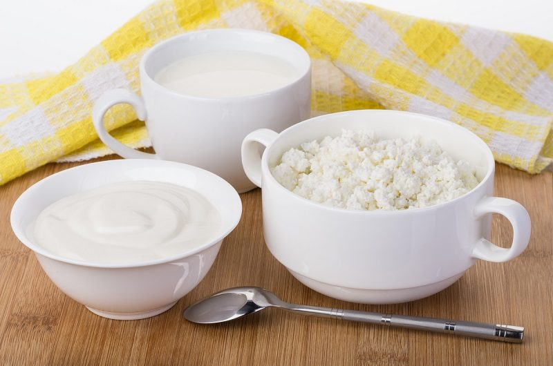 sour-cream-milk-and-cottage-cheese-and-napkin