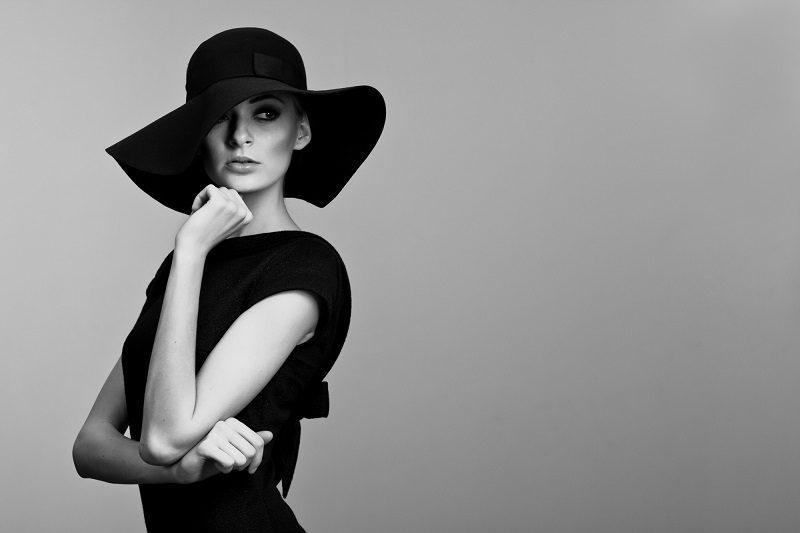 black-and-white-portrait-of-elegant-woman